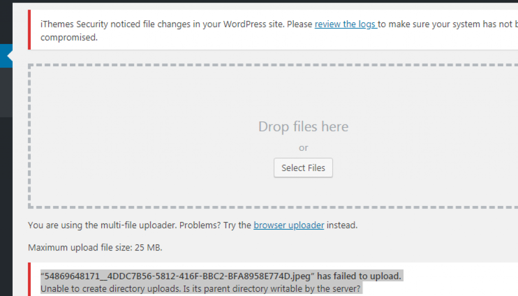 WordPress Media Upload Error: Is Its Parent Directory Writable