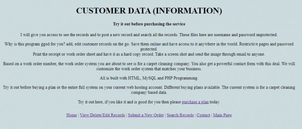 Customer Service Database