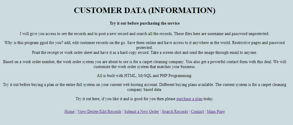 Customer Service Database